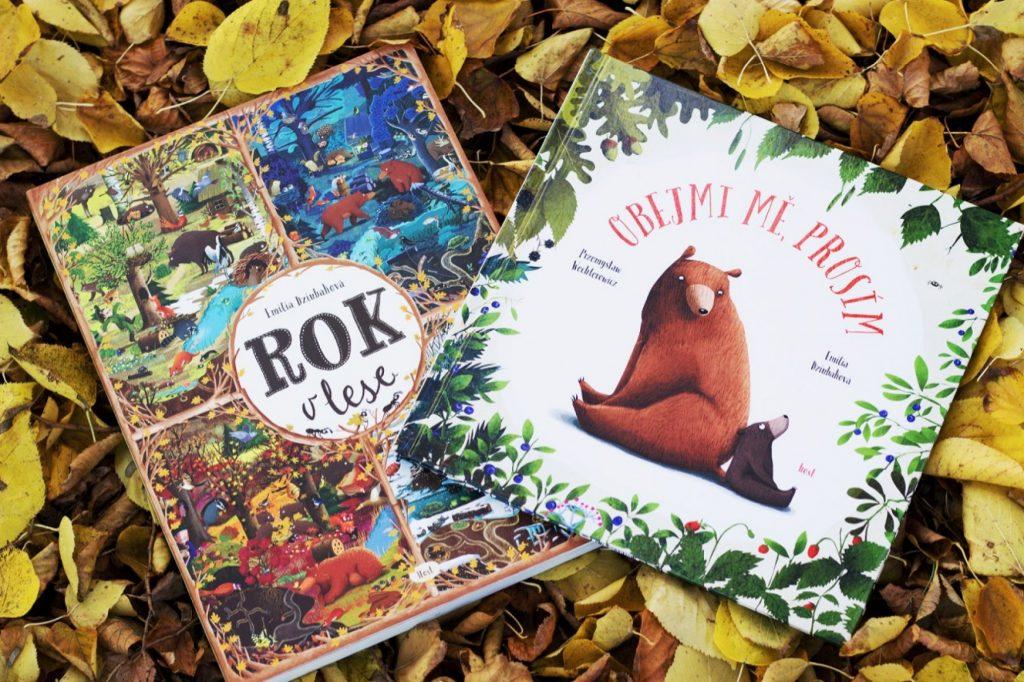 Obálky knih Rok v lese a Obejmi mě, prosím