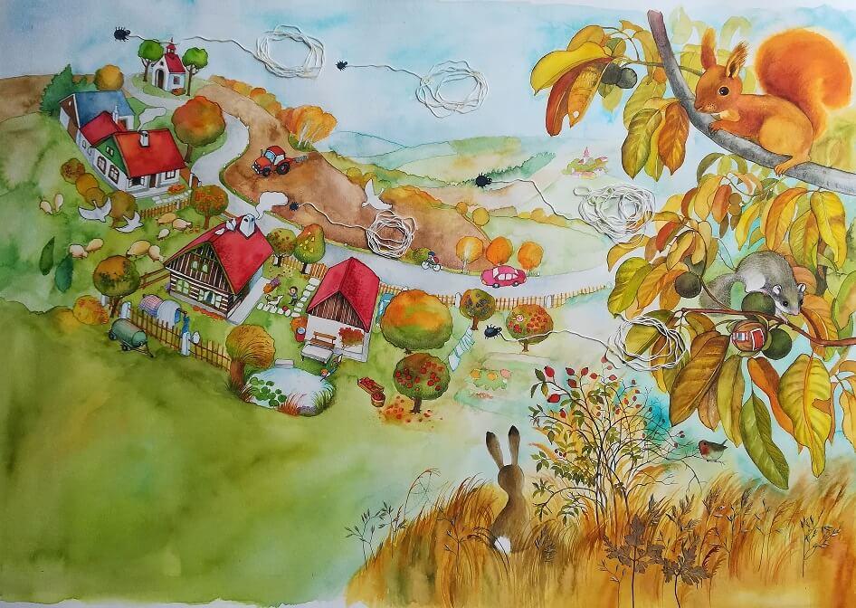 Ilustrace z knihy Oříškový podzim s Luckou, Jendou a Martínkem